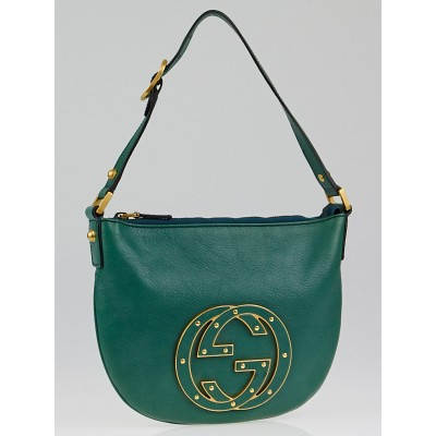 Gucci Green Leather GG Logo Small Blondie Hobo Bag