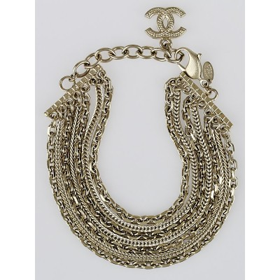 Chanel Goldtone Multi-Chain CC Bracelet