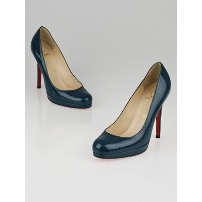 Christian Louboutin Teal Patent Leather New Simple 120 Pumps Size 6.5/37