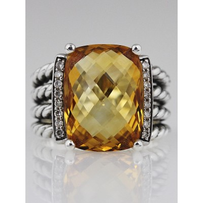 David Yurman Citrine and Diamond Wheaton Ring Size 8