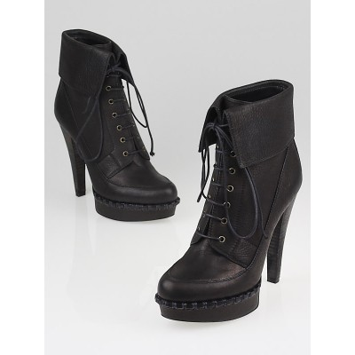 Yves Saint Laurent Black Leather Coleen 105 Lace Up Ankle Boots Size 7/37.5