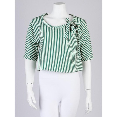 Marni Green/White Stripe Cotton Short Sleeve Blouse 6/40