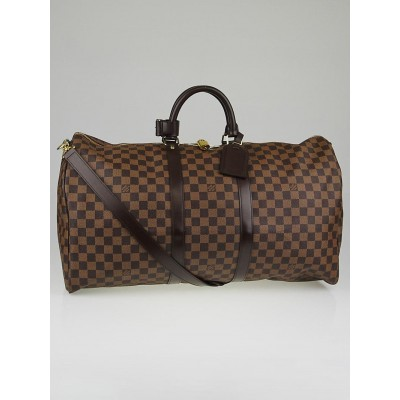 Louis Vuitton Damier Canvas Keepall Bandouliere 55 Bag