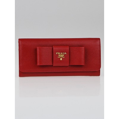 Prada Red Saffiano Leather Continental Bow Wallet 1M1132