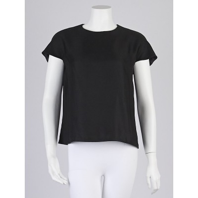 Balenciaga Black Leather/Polyester Short Sleeve Top Size 4/38