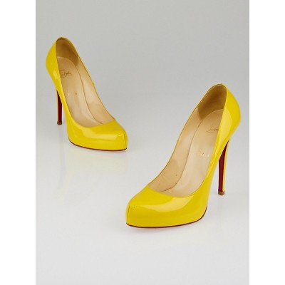 Christian Louboutin Yellow Patent Leather Rolando 120 Pumps Size 10.5/41