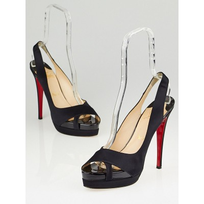 Christian Louboutin Black Satin Very Croise 140 Double Platform Slingback Heels Size 11.5/42
