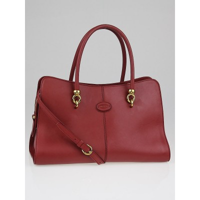 Tod's Mauve Leather Sellas Medium Shopping Bag