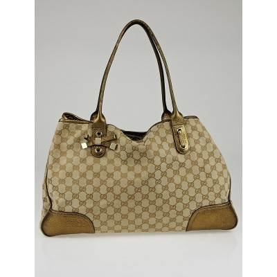 Gucci Beige/Gold GG Canvas Large Princy Tote Bag