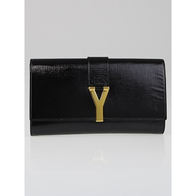 Yves Saint Laurent Black Textured Patent Leather Ligne Y Clutch Bag
