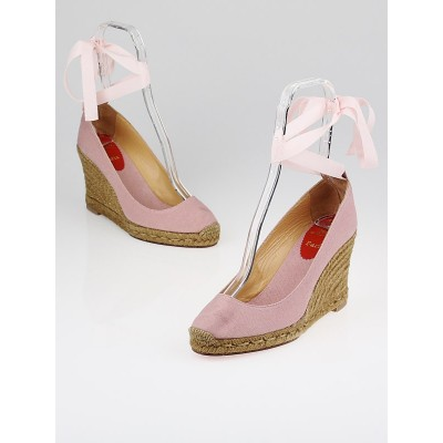 Christian Louboutin Pink Taupe Canvas Formentera 100 Espadrille Wedges Size 8.5/39