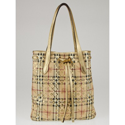 Burberry Haymarket Check Coated Canvas and Metallic Leather Trim Tote Bag