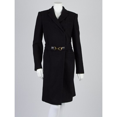 Gucci Black Wool Blend Belted Trench Coat Size 10/44
