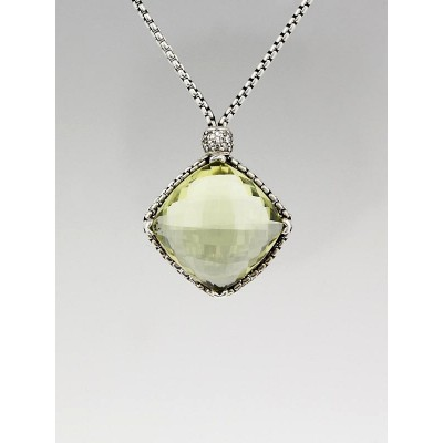 David Yurman 20mm Sterling Silver and Prasiolite Cushion-on-Point Pendant Necklace