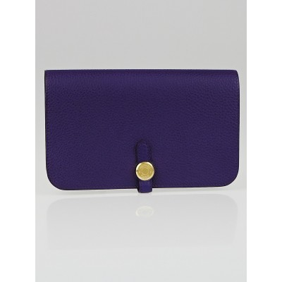 Hermes Iris Clemence Leather Dogon Combine Wallet