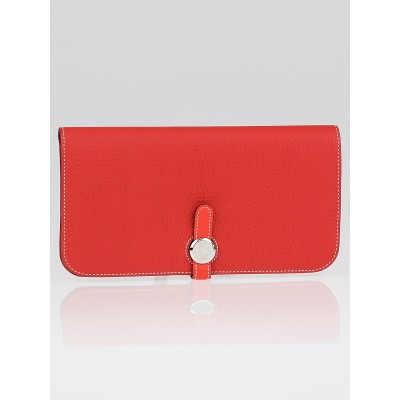 Hermes Bi-Color Geranium/Capucine Clemence Leather Dogon Recto Verso Wallet