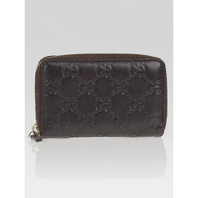 Gucci Dark Brown Guccissima Leather Small Zip Card Case