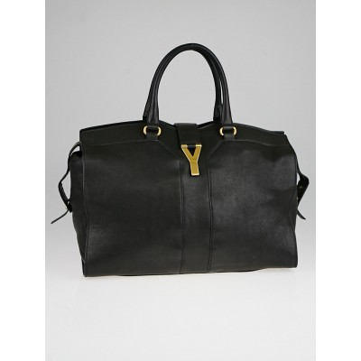 Yves Saint Laurent Black Sheepskin Leather Large Cabas ChYc Bag