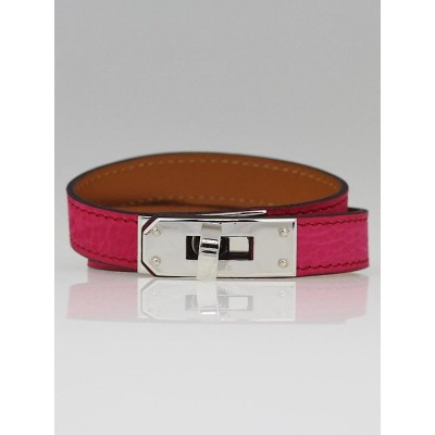 Hermes Rose Tyrien Eversoft Suede Palladium Plated Kelly Double Tour Bracelet Size S