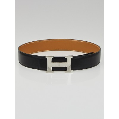 Hermes 32mm Black Box/Vache Natural Leather Palladium Plated Constance H Belt Size 65