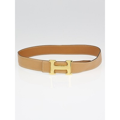 Hermes 32mm Gold Box/Courchevel Leather Gold Plated Constance H Belt Size 70