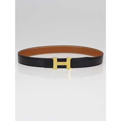 Hermes 24mm Black Box/Gold Courchevel Leather Gold Plated Constance H Belt Size 68