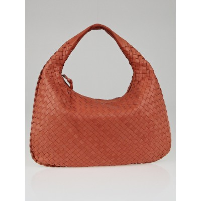 Bottega Veneta Corallo Intrecciato Woven Nappa Leather Medium Veneta Hobo Bag