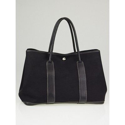 Hermes Black Canvas/Negonda Leather Garden Party MM Tote Bag