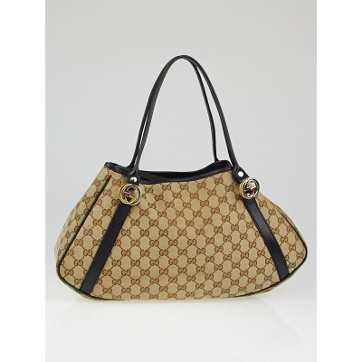 Gucci Beige/Black GG Canvas Twins Medium Hobo Bag