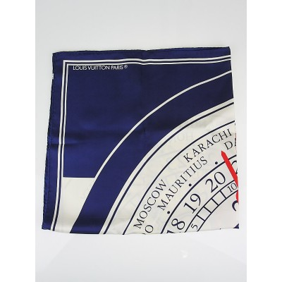Louis Vuitton Limited Edition 'Le Temps du Voyage Clock'  Gae Aulenti Silk Scarf