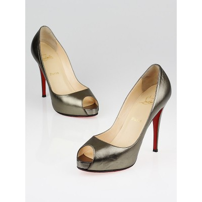 Christian Louboutin Pewter Metallic Leather Very Prive 120 Peep Toe Heels Size 10/40.5