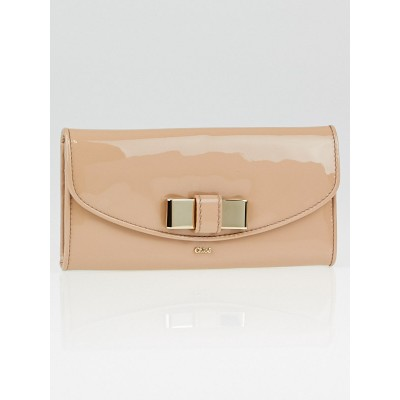 Chloe Pebble Patent Leather Lily Bow Flap Wallet