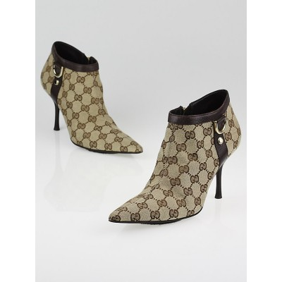 Gucci Beige/Ebony GG Canvas D-Ring Short Ankle Boots Size 7B