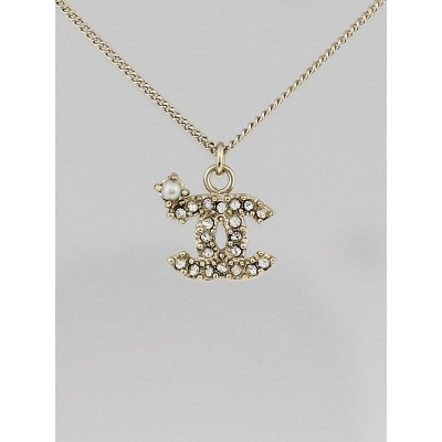 Chanel Goldtone Chain and Crystal CC Pendant Necklace