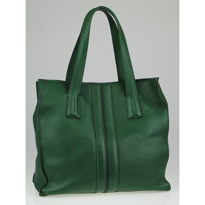 Tod's Green Leather Large Tote Bag