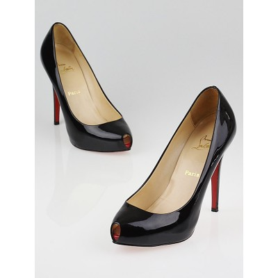 Christian Louboutin Black Patent Leather Open Clic 120 Pumps Size 8/38.5