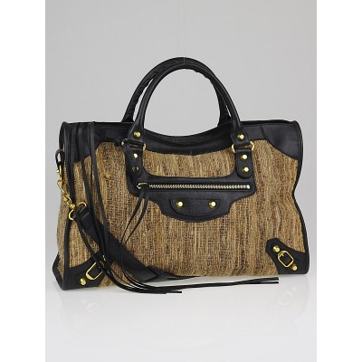 Balenciaga Natural/Black Straw/Lambskin Leather Motorcycle City Bag
