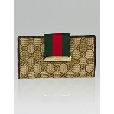 Gucci Beige/Ebony GG Canvas Vintage Web Continental Long Wallet