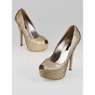 Louis Vuitton Beige Sequin Sanaga Open Toe Pumps Size 5.5/36