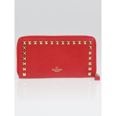 Valentino Red Leather Rockstud Zip Continental Wallet