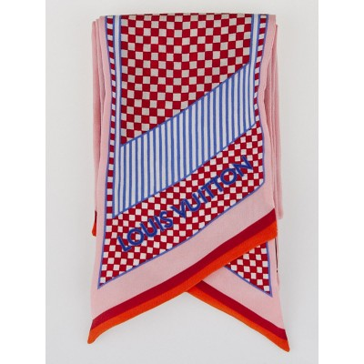 Louis Vuitton Chili Red Damier Aquerelle Silk Bandeau Scarf