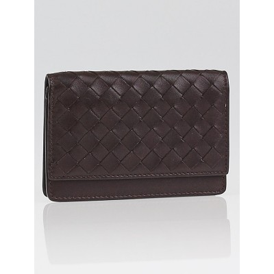 Bottega Veneta Ebano Intrecciato Woven Leather VN Card Case