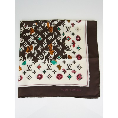 Louis Vuitton Marron Monogram Splash Silk Square Scarf