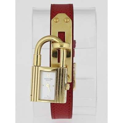 Hermes Rouge Courchevel Leather Gold Plated Kelly PM Watch