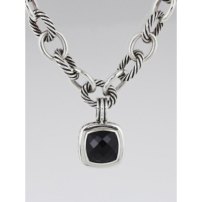 David Yurman Sterling Silver Cable and Black Onyx Albion Pendant