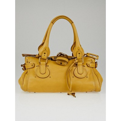 Chloe Yellow Leather Paddington Medium Satchel Bag