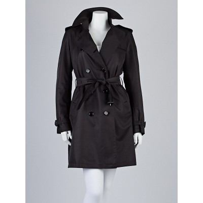 Burberry London Black Polyester Double Breasted Belted Barkestone Trench Coat Size 6