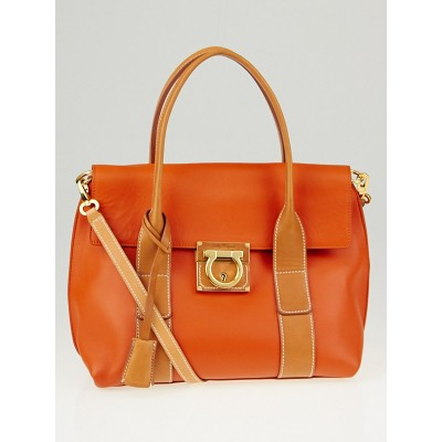 Salvatore Ferragamo Calendula/Tan Calf Leather Sookie Flap Satchel Bag