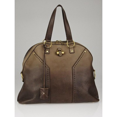 Yves Saint Laurent Beige/Brown Ombre Leather Oversized Muse Bag