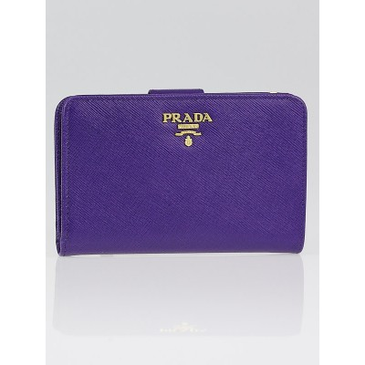 Prada Viola Saffiano Metal Leather Zippy Wallet 1M1225